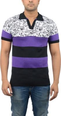 Blue Heaven Printed Men's Polo Neck Multicolor T-Shirt