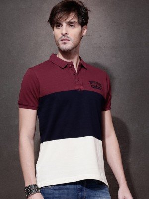 Roadster Self Design Men's Polo Neck Maroon T-Shirt