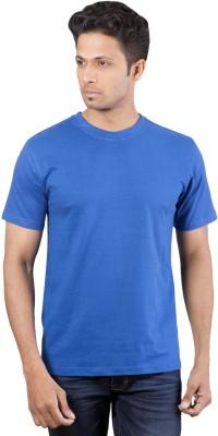 Oviyon Solid Men's Round Neck Blue T-Shirt