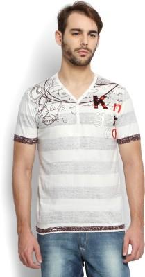 Kingaroo Striped Men's Henley White T-Shirt