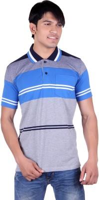 JAYIS Striped Men's Polo Neck Light Blue T-Shirt