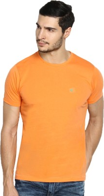 The Indian Garage Co. Solid Men's Round Neck Orange T-Shirt