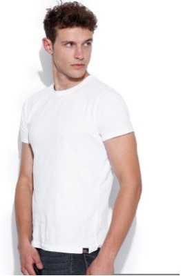Look Fabs Solid Men's Round Neck White T-Shirt