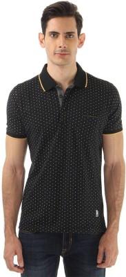 Monte Carlo Polka Print Men's Polo Neck Black T-Shirt