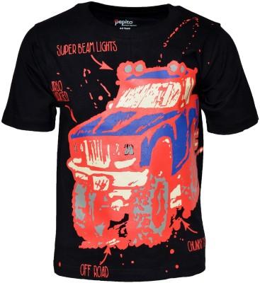 PEPITO Printed Boy's Round Neck Black T-Shirt