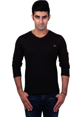 Bridge Solid Men's V-neck Black T-Shirt