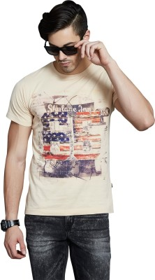 Route 66 Printed Men's Round Neck White T-Shirt