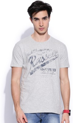 Russell Athletic Printed Men's Round Neck Grey T-Shirt
