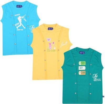 SPN Garments Printed Girl,s Round Neck Blue, Yellow, Green T-Shirt