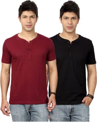 Top Notch Solid Men's Henley Maroon, Black T-Shirt