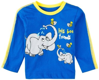 Snuggles Printed Boy's Round Neck Blue T-Shirt