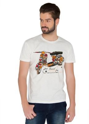 Jadeblue Printed Men's Round Neck White T-Shirt
