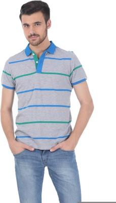 Basics Striped Men's Polo Neck Grey T-Shirt