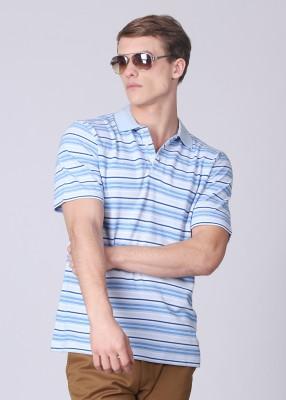 UV&W Striped Men's Polo Light Blue T-Shirt