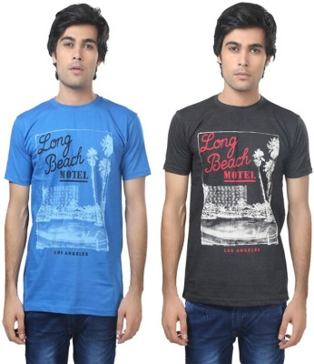 Louis Mode Printed Men's Round Neck Multicolor T-Shirt