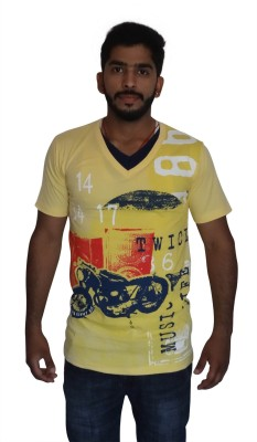 Uniqe Printed Men's V-neck Yellow T-Shirt
