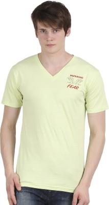 Tease Denim Embroidered Men's V-neck Light Green T-Shirt