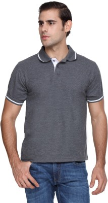 FX Jeans Co Solid Men's Polo Neck Grey T-Shirt