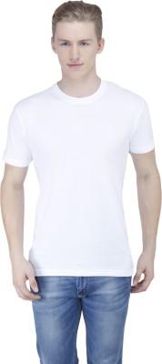 Sass Solid Men's Round Neck White T-Shirt
