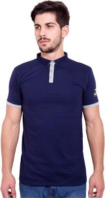 Jangoboy Solid Men's Turtle Neck Dark Blue, Grey T-Shirt