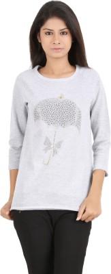 MA Printed Women's Round Neck Grey T-Shirt