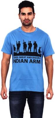 Pagal Desi Printed Men's Round Neck Blue T-Shirt