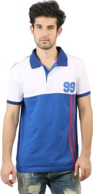 Hotfits Solid Men's Polo Neck Blue T-Shirt