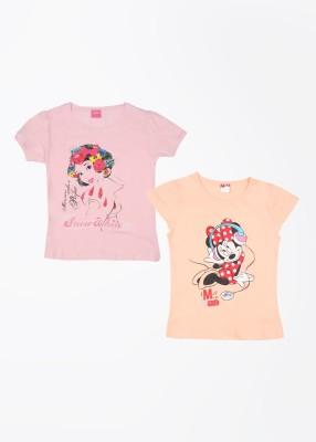 Cherish Printed Girl,s Round Neck Orange, Pink T-Shirt