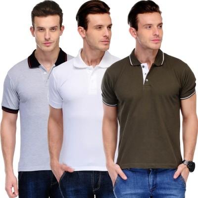 Scott International Solid Men's Polo Grey, Black, Brown, White T-Shirt