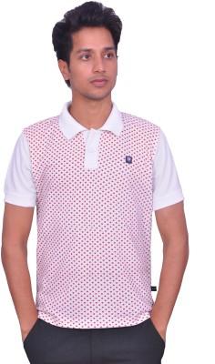 LEAF Polka Print Men's Polo Neck White, Red T-Shirt