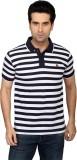 Got It Striped Men's Mandarin Collar Whi...