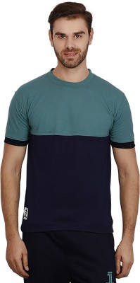 sporty culture Solid Men's Round Neck Green, Blue T-Shirt