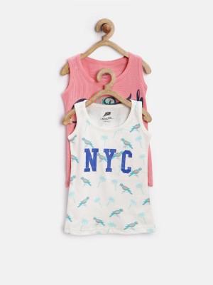 YK Printed Girl's Round Neck Pink T-Shirt