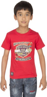 Ocean Race Printed Boy's Round Neck Red T-Shirt