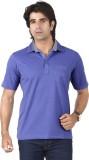 Valeta Solid Men's Polo Neck Blue T-Shir...