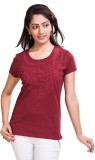TVENO Printed Women's Round Neck Red T-S...