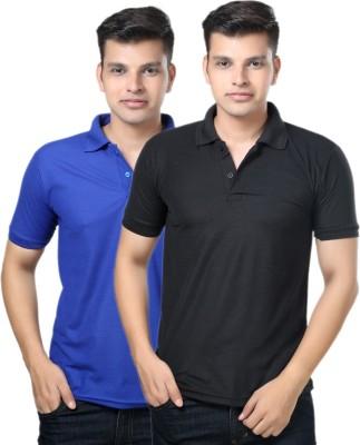 eSOUL Solid Men's Polo Neck Black, Blue T-Shirt