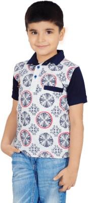 Naughty Ninos Printed Boy's Polo Neck Grey T-Shirt