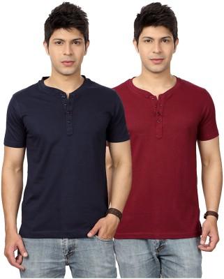 Top Notch Solid Men's Henley Dark Blue, Maroon T-Shirt