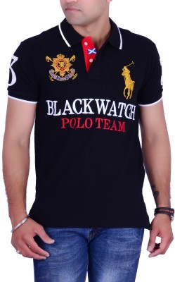 Ralph Lauren Solid Men's Polo Neck Black T-Shirt