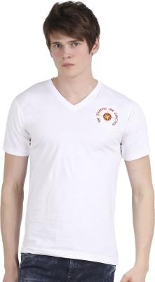 Tease Denim Embroidered Men's V-neck White T-Shirt
