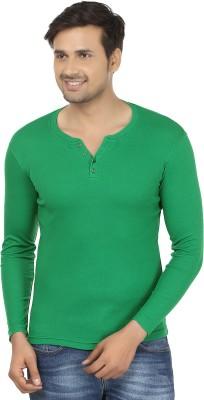 Fashcom Solid Men's Henley Green T-Shirt