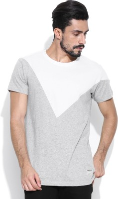 Hubberholme Solid Men's Round Neck Grey, White T-Shirt