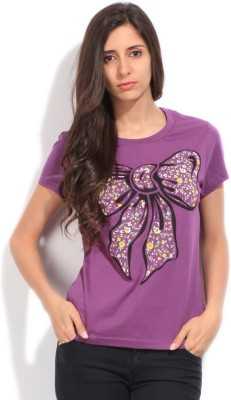 STYLE QUOTIENT BY NOI Printed Women's Round Neck Purple T-Shirt