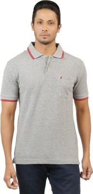 Menthol Solid, Embroidered Men's Polo Neck Grey T-Shirt