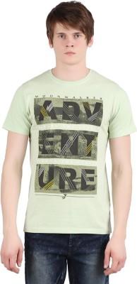 Moonwalker Printed Men's Round Neck Light Green T-Shirt