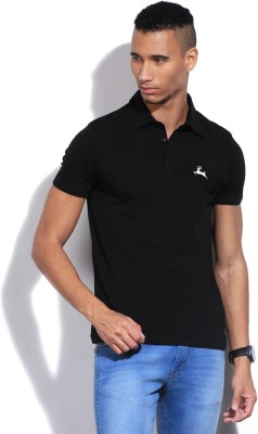 Deer Park Solid Men's Polo Neck Black T-Shirt