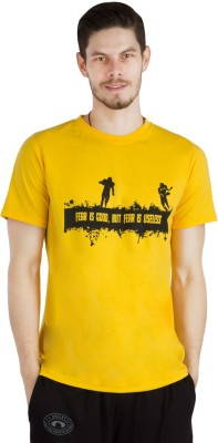 Arcley Solid, Printed Boy's Round Neck Yellow T-Shirt
