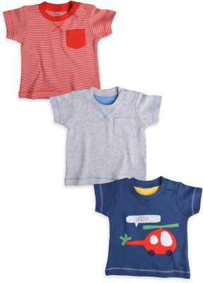 Mothercare Striped Baby Boy's Round Neck Grey, Blue, Red T-Shirt