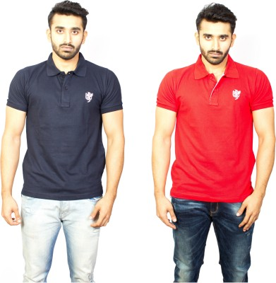 1OhOne Solid Men,s Polo Blue, Red T-Shirt